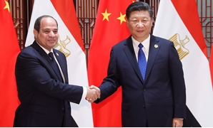 Chinese President Xi Jinping meeting Egyptian President Abdel-Fattah al-Sisi during the 2017 BRICS Summit in Xiamen on September 5.