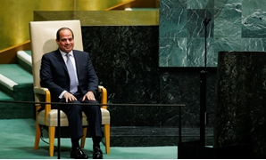 Egypt's President Abdel Fattah al-Sisi sits in the chair reserved for heads of state before delivering his address during the 73rd session of the United Nations General Assembly at U.N. headquarters in New York, U.S., September 25, 2018. REUTERS/Eduardo M