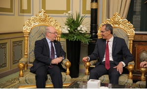 Minister of Telecommunication and Communication Technology Amr Talaat (l) and British Minister of State for the Middle East at the Foreign and Commonwealth Office Alistair Burt (r) - Press Photo