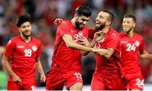 June 1, 2018 Tunisia's Ferjani Sassi celebrates scoring their second goal with team mates REUTERS/Denis Balibouse