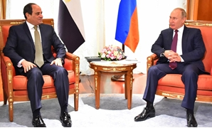 President Abdel Fatah al-Sisi and Russian counterpart Vladimir Putin in Sochi summit, Russia. October 17, 2018. Press Photo.
