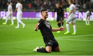 Eintracht Frankfurt's Serbian striker Luka Jovic celebrates one of his five goals on Friday