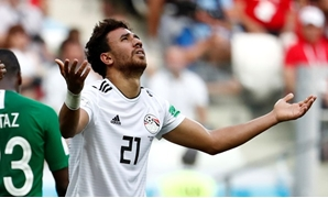 Soccer Football - World Cup - Group A - Saudi Arabia vs Egypt - Volgograd Arena, Volgograd, Russia - June 25, 2018 Egypt's Trezeguet reacts after missing a chance to score REUTERS/Damir Sagolj