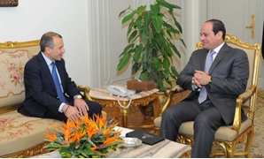 FILE - Lebanon's Minister of Foreign Affairs Gebran Bassil meeting with President Abdel Fatah al-Sisi in Cairo, 2016