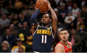 Denver's Monte Morris puts up a shot in the Nuggets' blowout win over the Atlanta Hawks