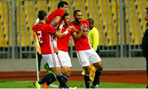 Egyptian players celebrate the first goal - FILE