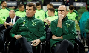 FILE PHOTO: Former Republic of Ireland assistant manager Roy Keane and manager Martin O'Neill at Aviva Stadium, Dublin, Ireland - Oct 16, 2018. Action Images via Reuters/John Sibley/File Photo