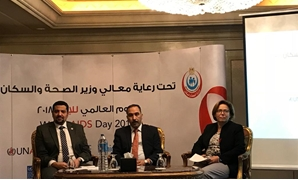 UNAIDS Country Manager Ahmed Khamis (l), Representative of Health and Population Mohamed Abdel, and United Nations Resident Coordinator in Egypt Randa Abou al-Hassan at World AIDS Day in Cairo on December 11, 2018. Egypt Today/Noha El Tawil