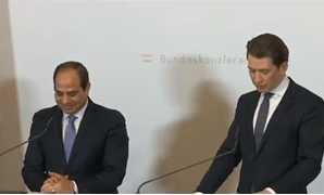President Abdel Fatah al-Sisi and Austrian Chancellor Sebastian Kurz in a press conference in Vienna, Austria. December 17, 2018. TV screenshot