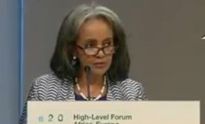 President of Ethiopia Sahle-Work Zewde delivering a speech at the High-Level Forum Africa-Europe held in Vienna. December 18, 2018. TV screenshot
