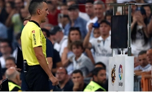 La Liga Santander - Real Madrid v Leganes - Santiago Bernabeu, Madrid, Spain - September 1, 2018 Referee checks VAR REUTERS/Javier Barbancho