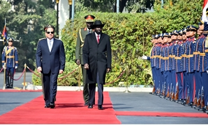 President Sisi (L) receives South Sudanese President (R) in Cairo - Press photo