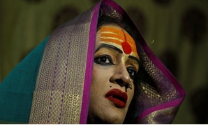 "Laxmi Narayan Tripathi, chief of the ""Kinnar Akhara"" congregation for transgender people speaks to her followers during ""Kumbh Mela"", or the Pitcher Festival, in Prayagraj, previously known as Allahabad, India, January 16, 2019. Picture taken January 16,"