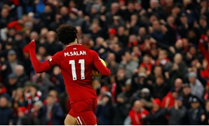 Soccer Football - Premier League - Liverpool v Crystal Palace - Anfield, Liverpool, Britain - January 19, 2019 Liverpool's Mohamed Salah celebrates scoring their first goal REUTERS/Phil Noble EDITORIAL USE ONLY. No use with unauthorized audio, video, data
