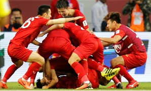 Soccer Football - AFC Asian Cup - Round of 16 - Jordan v Vietnam - Al-Maktoum Stadium, Dubai, United Arab Emirates - January 20, 2019 Vietnam celebrate victory REUTERS/Thaier Al-Sudani