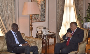 Egyptian Foreign Minister Sameh Shoukry (R) meets with Secretary General of the International Federation of Red Cross and Red Crescent Societies Elhadj As Sy (L) - Courtesy of the Foreign Ministry Spokesman on Twitter
