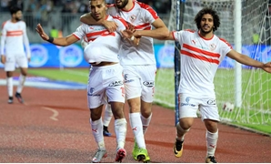 Zamalek's players celebrate the third goal against IR Tanger  - FILE