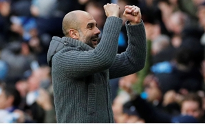 Soccer Football - Premier League - Manchester City v Chelsea - Etihad Stadium, Manchester, Britain - February 10, 2019 Manchester City manager Pep Guardiola celebrates their second goal scored by Manchester City's Sergio Aguero REUTERS/Phil Noble EDITORIA