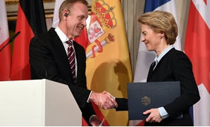 German Defence Minister Ursula von der Leyen and U.S. Secretary of Defense Patrick Shanahan shake hands during the annual Munich Security Conference in Munich, Germany February 15, 2019. REUTERS/Andreas Gebert