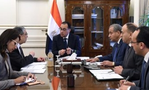 Prime Minister Mostafa Madbouly, Minister of Electricity and Renewable Energy Mohamed Shaker (l), and Minister of Supply and Internal Trade Ali al-Meselhy in a meeting at the Cabinet's headquarters in Cairo, Egypt. February 19, 2019. Press Photo
