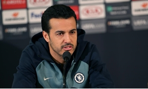 Chelsea's Pedro during a news conference. TT News Agency/Andreas Hillergren via REUTERS