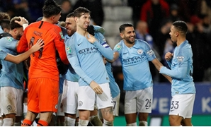 Soccer Football - Carabao Cup Quarter-Final - Leicester City v Manchester City - King Power Stadium, Leicester, Britain - December 18, 2018 Manchester City's John Stones and team mates celebrate after the match REUTERS/Darren Staples