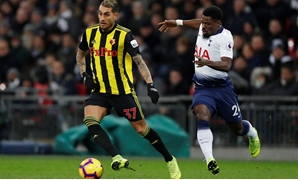 Soccer Football - Premier League - Tottenham Hotspur v Watford - Wembley Stadium, London, Britain - January 30, 2019 Tottenham's Serge Aurier in action with Watford's Roberto Pereyra Action Images via Reuters/Matthew Childs EDITORIAL USE ONLY. No use with