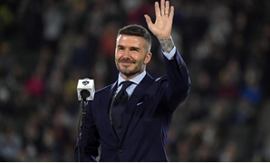 FILE PHOTO: Mar 2, 2019; Carson, CA, USA; David Beckham acknowleges the crowd during LA Galaxy ring of honor ceremony at Dignity Health Sports Park. Mandatory Credit: Kirby Lee-USA TODAY Sports/File Photo