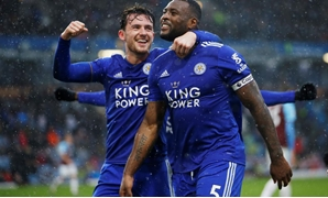 March 16, 2019 Leicester City's Wes Morgan celebrates scoring their second goal with Ben Chilwell Action Images via Reuters/Craig Brough