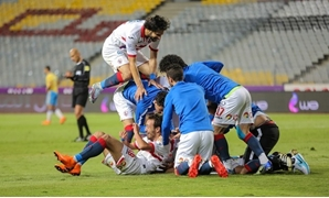 Soccer, Egyptian Cup semi-final, 7,5,2018, Zamalek players celebrate scoring against Ismaily, Karim Abdel Aziz