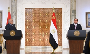 President Abdel Fatah al-Sisi (R) with Iraqi Prime Minister Adil Abdul-Mahdi (L) during a press conference in Cairo On Saturday, March 23, 2019- Press photo