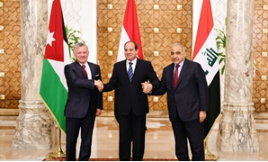 President Abdel Fattah al-Sisi, King Abdullah II of Jordan and the Prime Minister of Iraq Adel Abdul-Mahdi during the tripartite summit held March 24, 2019 - Press Photo