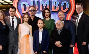 "Producer Katterli Frauenfelder, actor Colin Farrell, actor Nico Parker, director Tim Burton, actor Finley Hobbins, actor Eva Green, actor Danny DeVito, producers Derek Frey and Justin Springer attend the European premiere of ""Dumbo"" movie in London, Brita"