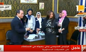 President Abdel Fatal al-Sisi has cast his vote Saturday in the referendum on a set of proposed constitutional amendments on the first voting day in Egypt - TV Screenshot