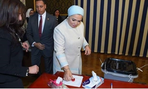 PRESS: First Lady Intissar al-Sisi on Saturday casting her ballot in the new constitutional amendments
