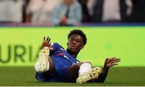 Soccer Football - Premier League - Chelsea v Burnley - Stamford Bridge, London, Britain - April 22, 2019 Chelsea's Callum Hudson-Odoi after sustaining an injury Action Images via Reuters/Andrew Boyers