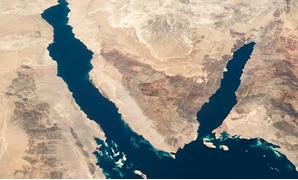 Sinai between the two gulfs of Suez (L) and Aqaba (R) - Image courtesy of the NASA Johnson Space Center, Image Science & Analysis Laboratory