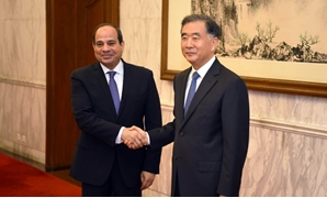 Egypt's President Abdel Fatah al-Sisi meets with Wang Yang, chairman of the CPPCC - Press photo