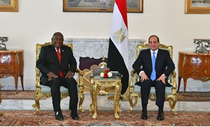 President Abdel Fatah al-Sisi in a meeting with South African counterpart Cyril Ramaphosa in Cairo, Egypt. April 23, 2019. Press Photo