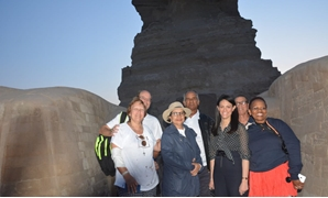Minister of Tourism, Rania al-Mashat, join South African tourists in a visit to Giza Pyramids and the Great Sphinx- press photo