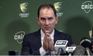 Justin Langer speaks to the media in Melbourne, Australia, May 3, 2018. AAP/Luis Ascui/via REUTERS