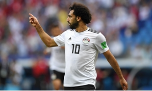 Saudi Arabia v Egypt: Mohamed Salah of Egypt celebrates after scoring
