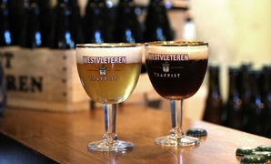 Glasses with Belgian Trappist beer Westvleteren are seen at Sint-Sixtus abbey in Westvleteren, Belgium June 14, 2019. REUTERS/Yves Herman
