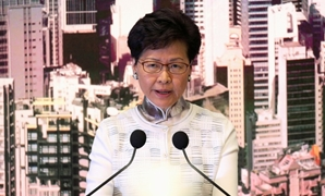 FILE PHOTO: Hong Kong Chief Executive Carrie Lam speaks at a news conference in Hong Kong, China, June 15, 2019. REUTERS/Athit Perawongmetha