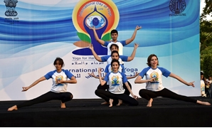 Part of the event held by the Indian Embassy in Cairo to celebrate the fifth International Day of Yoga. June 20, 2019. Press Photo