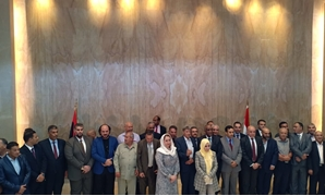 The delegation of Libyan members of parliament in Egypt: photo via Egypt Today