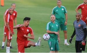 Soccer Football - Africa Cup of Nations 2019 - Algeria Training - Petro Sports Stadium, Cairo, Egypt - July 18, 2019. Algeria's Baghdad Bounedjah in action. REUTERS/Shokry Hussien