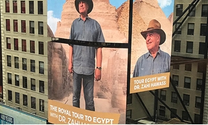 Egyptologist Zahi Hawass at Times Square (Egypt Today)