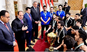 President Abdel Fatah al-Sisi praised on Tuesday Egypt's U-19 handball team's global achievement of winning the World Championship title for the first time - Press photo