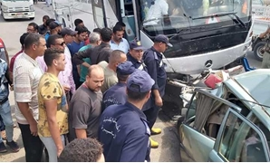 The accident, which took place in Damanhor, Beheira, damaged seven cars